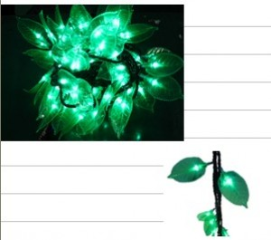TQ-SD-LY-100 LED TREE GREEN LEAFAGE STRING LIGHTS 100 Bulbs